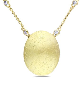 Gold & Cubic Zirconia Circle Pendant Necklace