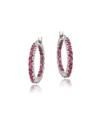 Ruby & Silver Inside-Out Hoop Earrings
