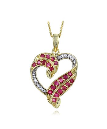 Ruby & Gold Heart Necklace