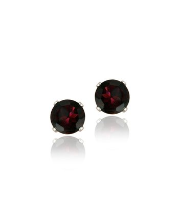 Garnet & Sterling Silver Stud Earrings