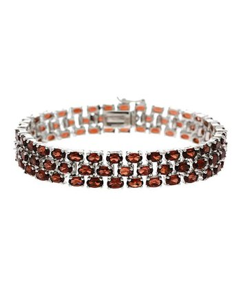 Garnet & Silver Three-Tier Bracelet