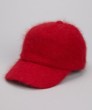 Red Angora Baseball Hat