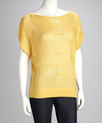 Gold Open-Knit Sweater