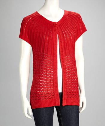 Red Zigzag Knit Cardigan