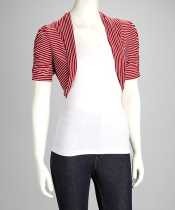 Red & White Stripe Ruched Shrug