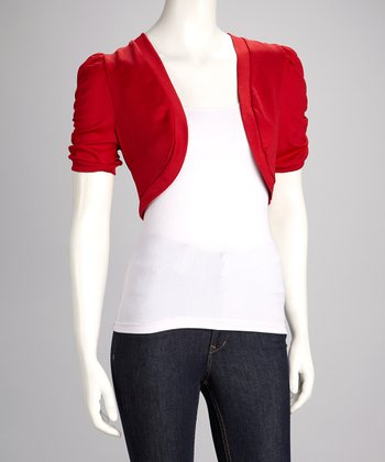 Red Ruched Shrug