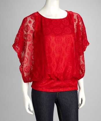 Red Floral Lace Cape-Sleeve Top