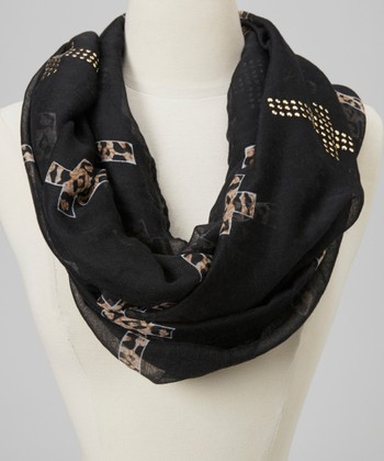 Black Cross Animal Infinity Scarf