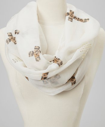 White Cross Animal Infinity Scarf