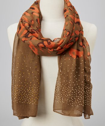 Khaki Stud Animal Scarf