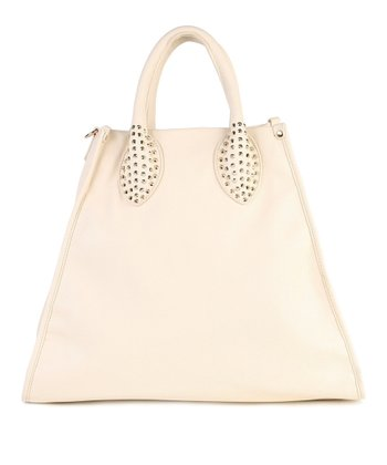Cream Stud Handle Tote