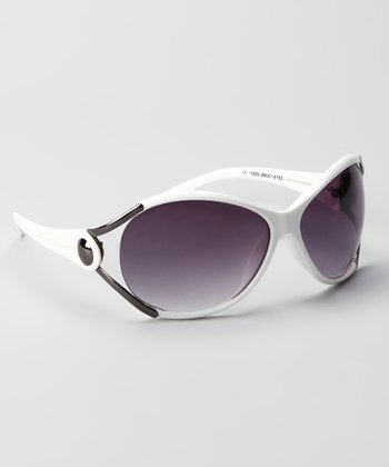 White & Smoke Cutout Fashion Metal-Accent Sunglasses