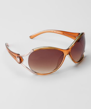 Melon & Brown Cutout Fashion Metal-Accent Sunglasses
