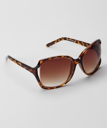 Tortoise & Brown Oversize Fashion Cutout Sunglasses