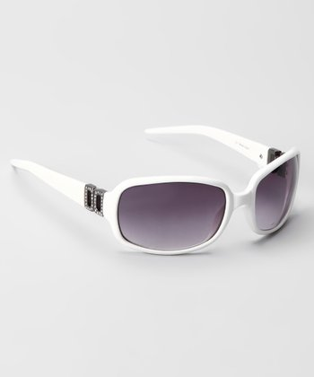 White & Smoke Square Crystal-Accent Sunglasses
