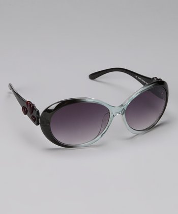 Crystal & Smoke Round Frame Heart Sunglasses