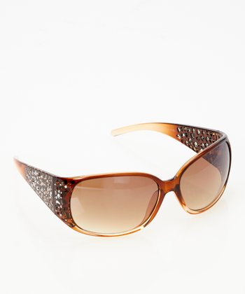 Brown Crystal Art Deco Sunglasses