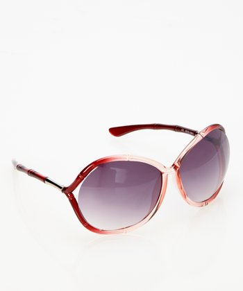Burgundy Crystal Bamboo Sunglasses