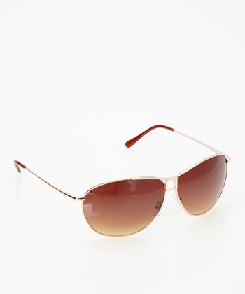 Gold Movie Star Pilot Sunglasses