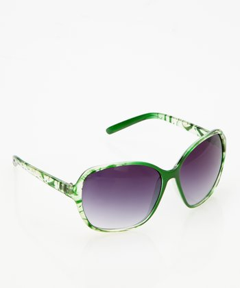 Emerald & Clear Butterfly Sunglasses