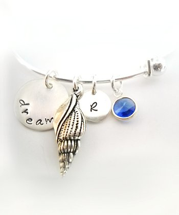 Sterling Silver 'Dream' Shell Swarovski Crystal Initial Bracelet