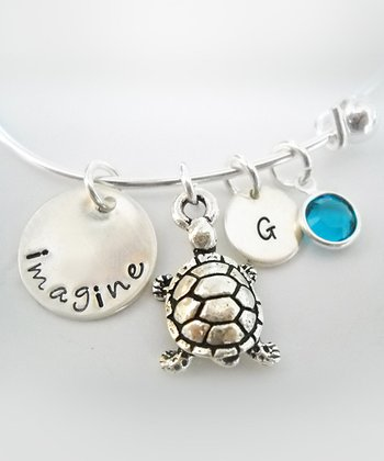 Sterling Silver 'Imagine' Turtle Swarovski Crystal Initial Bracelet