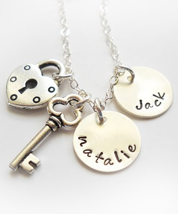 Sterling Silver Heart Lock & Key Personalized Necklace
