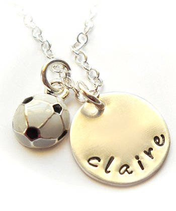 Sterling Silver Soccer Ball Personalize Necklace