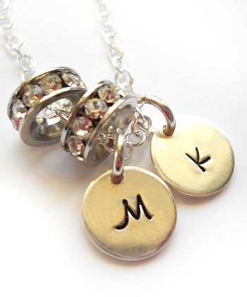 Silver Double Wedding Band Double Initial Necklace