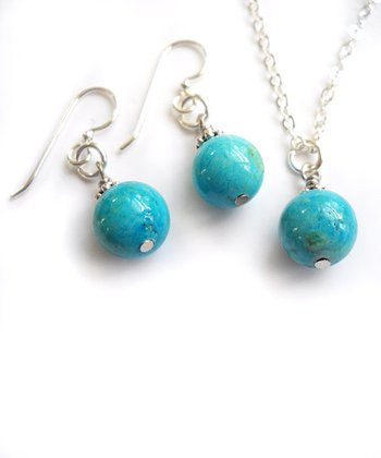 Turquoise Blue Bead Necklace & Earrings