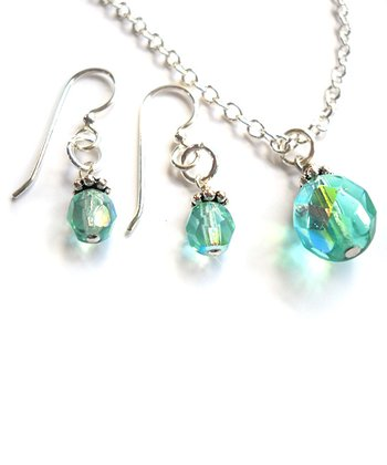 Light Aqua Necklace & Earrings