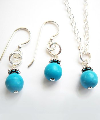 Chalk Turquoise Bead Necklace & Earrings