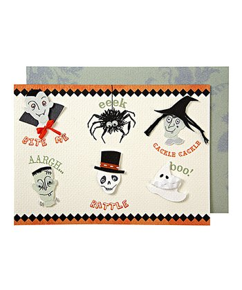 Halloween Spooky Faces Greeting Card