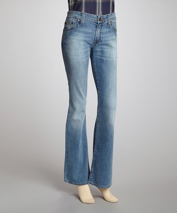 Light Blue Stretch Denim Bootcut Jeans