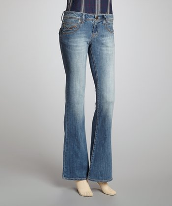 Light Blue Washed Stretch Denim Flare Jeans
