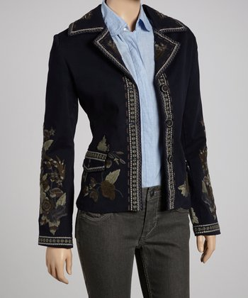 Navy Embroidered Blazer