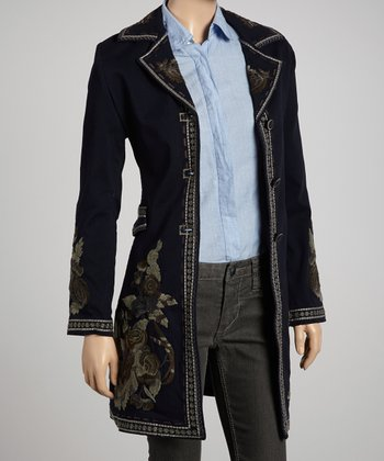 Navy Embroidered Coat