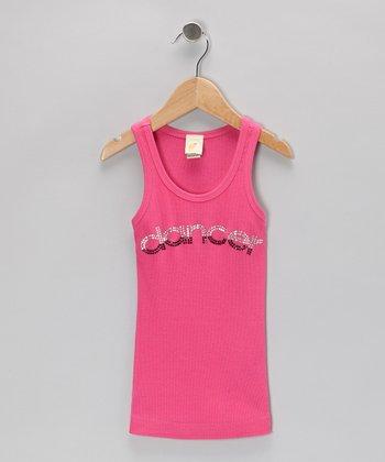 3 Pearls Kids Hot Pink & Black 'Dancer' Rhinestone Tank - Girls