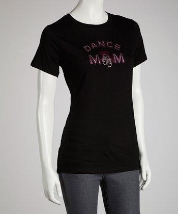 Black 'Dance Mom' Rhinestone Tee - Women
