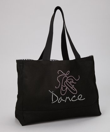 Black Ballet Shoes 'Dance' Rhinestone Tote
