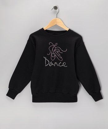 Black Ballet 'Dance' Rhinestone Sweatshirt - Girls