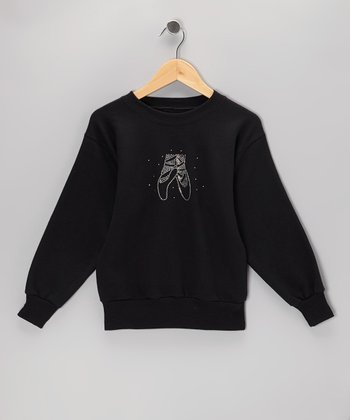 Black Ballet Slippers Rhinestone Sweatshirt - Girls
