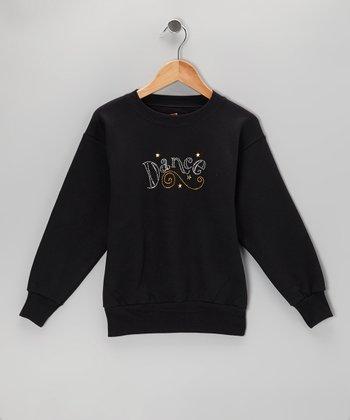 Black 'Dance' Stud Sweatshirt - Girls