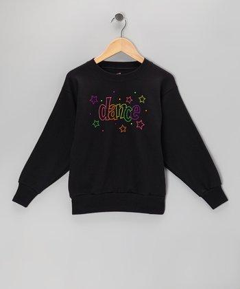 Black 'Dance' Neon Stud Sweatshirt - Girls