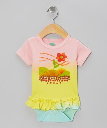 Pink & Lemon Fantasy Flower Organic Skirted Bodysuit - Infant