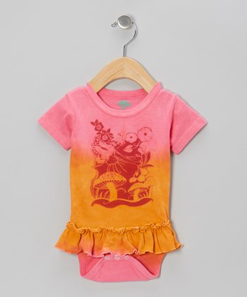 Pink & Peach Fairyland Organic Skirted Bodysuit - Infant