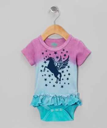 Lavender & Blue Unicorn Organic Skirted Bodysuit - Infant