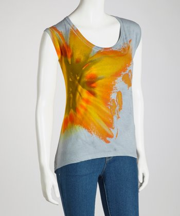 Orange & Gray Lily Organic Hi-Low Sleeveless Top - Women