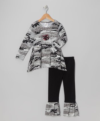 Gray Sparkle Camo Sidetail Tunic & Ruffle Leggings - Girls
