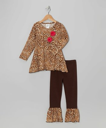 Tan Leopard Sidetail Tunic & Ruffle Leggings - Infant & Girls